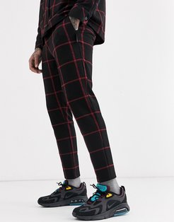 slim fit pants with window pane check in black