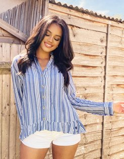 button front shirt in blue and white stripe