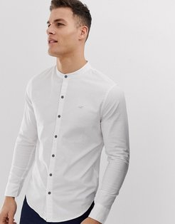 icon logo banded collar oxford shirt muscle skinny fit in white