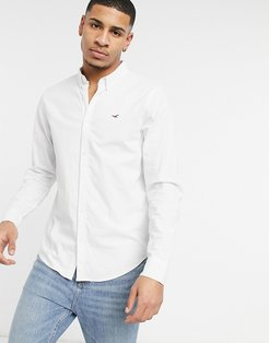 icon logo long sleeve slim fit oxford shirt button down in white
