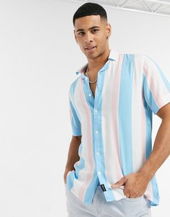 Pride striped rayon short sleeve shirt in white
