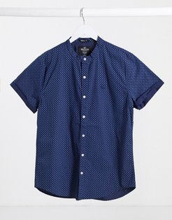 printed short sleeve shirt in navy-Red