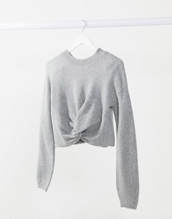 textured wrap top in white-Gray