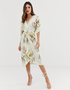 knot front midi dress in summer floral print-Multi