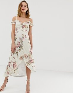 ruffle cold shoulder high low midi dress in cream floral-Multi