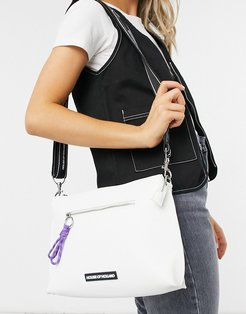 crossbody with cord zip detail in white