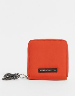 wallet in orange with cord detail