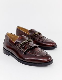Archer chain loafers in burgundy-Red