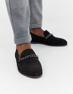 Cerberus chain loafers in black suede