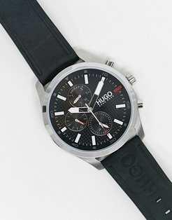 chase leather watch in black 1530161