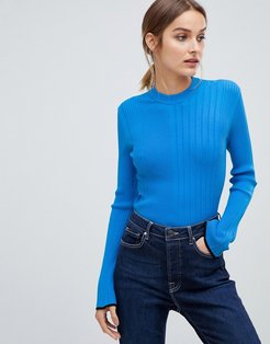 ribbed knitted top-Blues
