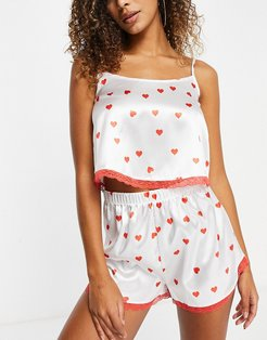 satin lace trim cami top and short pajama set in red heart print-Pink