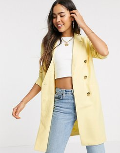 double breasted longline blazer-Yellow