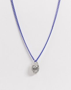 neckchain in metallic blue with space detail oval pendant-Silver