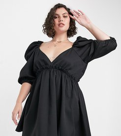 x Lorna Luxe mini smock dress with exaggerated sleeves in black