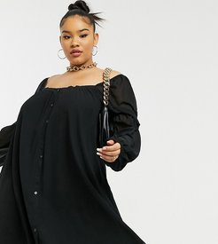 x Lorna Luxe mini swing dress with button detail in black