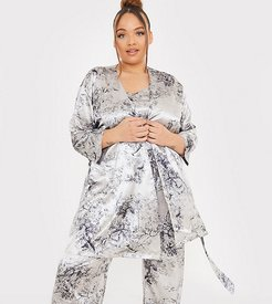 x Lorna Luxe satin contrast trim robe with belt in navy multi