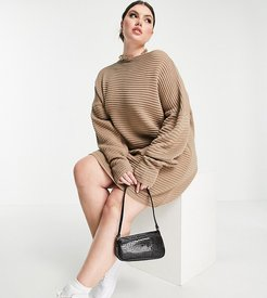 x Megan Mckenna knit slouch off-the-shoulder dress in taupe-Neutral