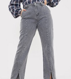 x Olivia Bowen high waisted slit front straight leg jean in gray-Grey