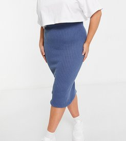 x Shaughna ribbed midi skirt in blue