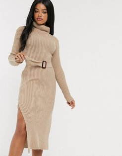 x Billie Faiers knitted roll neck midi dress with belt in camel-Brown