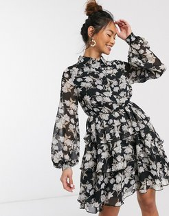 x Stephsa skater shirt dress in mono floral print-Multi