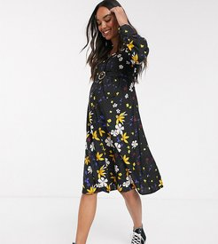 button down belted midi dress in mixed floral print-Multi