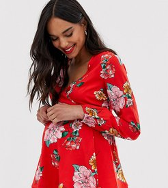 wrap front floral blouse with flutter sleeve-Red