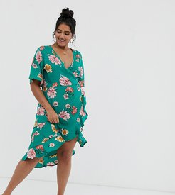 midi wrap dress with frill in floral print-Green