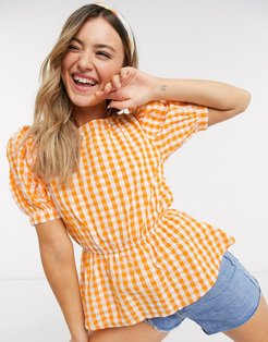 puff sleeve blouse in yellow gingham