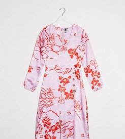 button front midi dress in pink floral