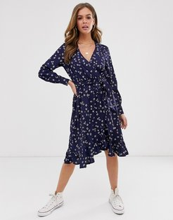 wrap front midi dress in navy floral