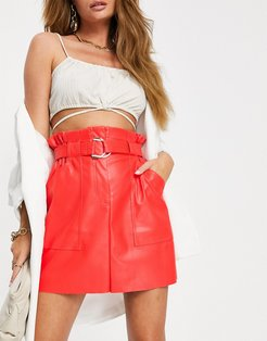 belted PU skirt in red