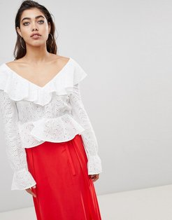 Blouse in Anglais Lace with Deep V Back and Frills-White