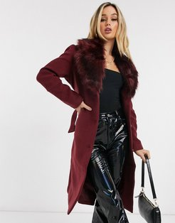 coat with faux fur collar in burgundy-Brown