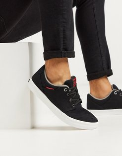 canvas sneakers with contrast sole in black