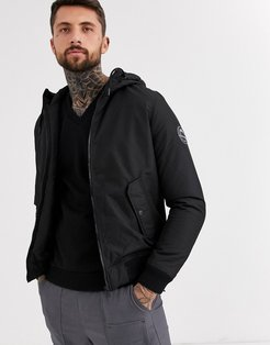 Core double pocket padded jacket with hood in black