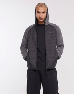 Core padded soft shell hooded jacket in black