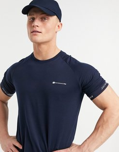Core Performance t-shirt with logo sleeve in navy