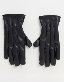 faux leather gloves in black