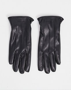 faux leather gloves-Black