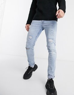Intelligence Liam skinny fit super stretch abrasion jeans in light wash-Blue