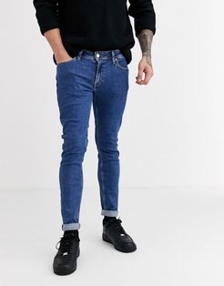 Intelligence skinny fit stone wash jeans in light blue