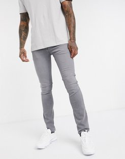 Intelligence skinny fit super stretch jeans in light gray