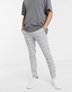 Intelligence slim fit smart check pants in light gray