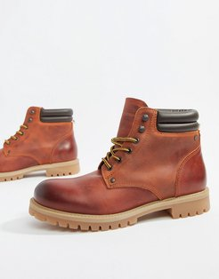 leather lace up boots-Brown
