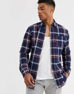 Originals brushed cotton check shirt in navy