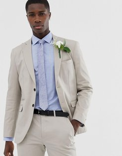 Premium slim wedding suit jacket in brushed cotton-Beige