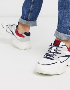 sneakers with chunky sole and contrast panels-White