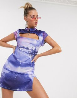 high neck skater dress with cut out in futuristic print-Purple